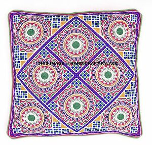 """16"""" Indian Vintage Floral Embroidered Cushion Cover Decor Pillow Case Decorative"""