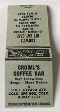 Old Matchbook Cover Crowl's Coffee Bar Kit Kat Cafe Colorado Springs Denver CO