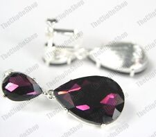 CLIP ON 4cm BIG CRYSTAL DROPS EARRINGS dark purple SPARKLY silver plated GLASS