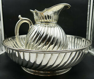 Art Nouveau French Christofle Silver Plate Fluted Large Pitcher Jug & Basin