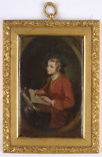 """""""Portrait of a young artist"""", French lacquer painting, late 18th century"""