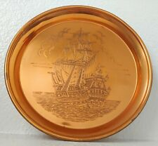 Vintage Etched Copper Tray Galleon Ship Nautical Round Serving Plate Engraved