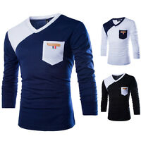 Men's Slim Fit Long V-Neck Sleeve Tee Shirt Tops Color Match Casual T-Shirts New