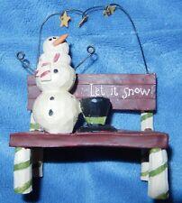 LET IT SNOW SNOWMAN PARK BENCH HAT STARS XMAS WINTER FIGURINE BLOSSOM BUCKET NEW