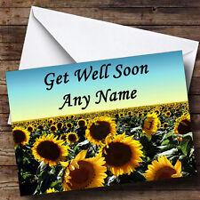 Sunflower Field Personalised Get Well Soon Greetings Card