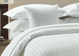 1000 TC Egyptian Cotton 3Pc Fitted Sheet Set Uk Sizes Color White Striped