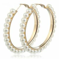 Elegant Gold Pearls Circle Hoop Earrings Women Oversize Pearl Fashion Jewelry