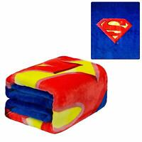 Licensed DC Comics Superman Shield Royal Plush Queen Size Flannel Blanket