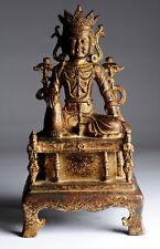 Antiker Buddha China Schriftzeichen Bronze Guan Yin antique Ming Stil B59a