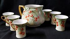 LIMOGES France W. G. Co Cherries lemonade Pitcher w/6 cups Victoria Austria 1914
