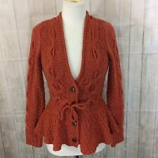 Anthropologie Sparrow Peplum Cardigan Sweater Knit Wood Buttons M