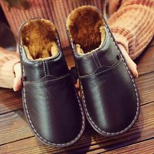 Men Genuine Leather Slippers Winter Superstar Non Slip Indoor Rubber Warm Shoes