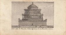 Antico stato del mausoleo d'Adriano ROM ITALIA ORIG RAME chiave vasi 1816
