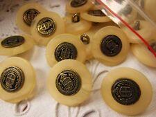 lot 12 boutons créme beige veiné à pied coeur alliage diamètre: 2 cm ref 2257