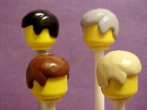LEGO HAIR LOT classic short brown black gray blonde side part minifig accessory