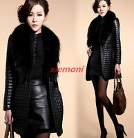 2017 New Fashion Women's PU Leather Long Coat Jacket Faux Fur Collar Warm Winter