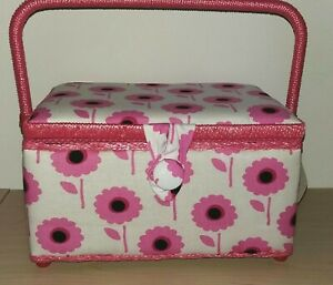 BNWT Hobby Gift Medium Size Sewing Box Pink on White Retro Floral Design