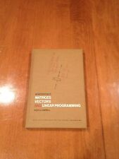 An Introduction to Matrices Vectors And Linear Programming Book Hugh Campbell