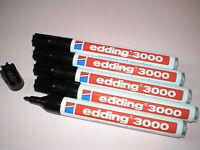 5 Stück Edding 3000 Permanent-Marker schwarz Rundspitze 1,5 -3 mm Filzstift NEU
