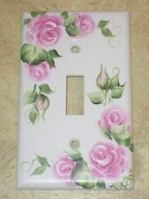 Hand Painted Pink Rose SWITCH PLATE COVER hp Roses* Single Toggle