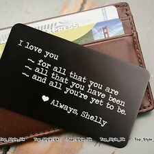 Valentines Day Gifts for Him & Her PERSONALISED Metal Card Present Men Women U4