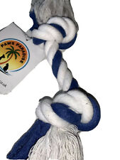 Tough Strong Durable Double Knot Rope Throw Fetch Chew Dog Toy Blue White