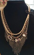 NWT Guess Silver-Black-Gold Metal Clear Stones & Beads Statement Necklace