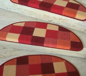 0Treppenmatte - Stair Matt Patchwork Red Semicircular 65x23 CM Stairs New
