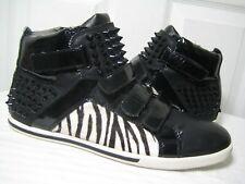 Aldo Black Studded Zebra Stripe Patent Leather High Top Sneakers Mens Sz 41 / 8.