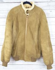Vtg New Zealand Sheepskin Shearling Wool Suede leather Jacket Sz 18 au 14 US