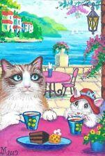 4X6 Postcard Ryta Vintage Style Art Ragdoll Cat Vacation Sea Seascape Tea Cup
