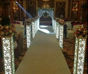 8pc. LED White Flower Carving Wedding Column Pillars Decoration Stands
