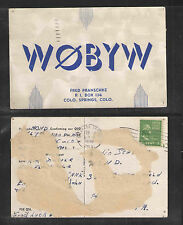 1948 W0BYW QSL CARD USED COLORADO SPRINGS COLO USA