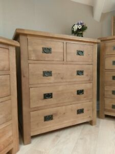 CHUNKY OAK 2 OVER 3 DRAWER CHEST - LARGE BEDROOM DRAWERS - SOLID WOOD - 5 DRAW