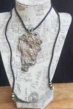 Vintage Sterling Brutalist Modernist Artisan Large Pendant Black Cord Necklace