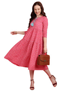 Indian Women Anarkali Full Ghera Cotton Pink Kurta Kurti Top Tunic Long Dress
