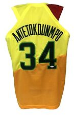 Giannis Antetokounmpo Autographed Pro Style Yellow Jersey JSA Authenticated