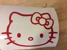 Hello Kitty Head Face Bow Car Truck Wall Vinyl Window Decal Decals Sticker Red