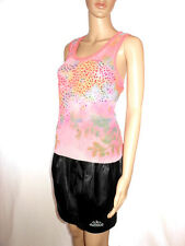 TAVIANI Made in Italy Womens Casual Pink Floral Sequin Knit Back Top sz L AF78