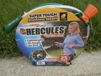 Hercules Garden Hose, Metal 25 Ft Hose, INCLUDES WIND-UP REEL, Lifetime Warranty