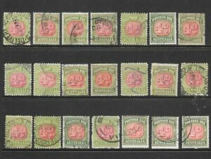 Stamps Australia Bulk 4d Postage Dues Selection x 21 good used/fine used