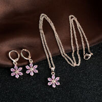 Fashion Jewelry Set Rhinestone Crystal Flower Pendant Necklace Hoop Earrings