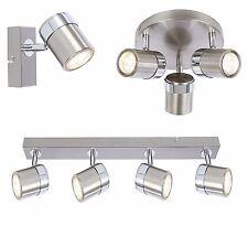 1 3 or 4 Way Satin Ceiling Light Round or Straight Bar GU10 Ceiling Spotlight