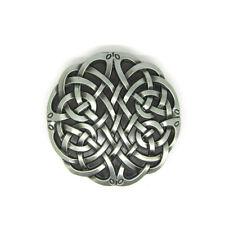 Silver Celtic Keltic Irish Round Knot Belt Buckle Mens Vintage Western Cowboy