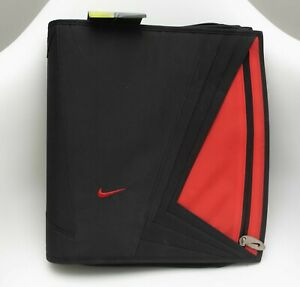 NWT Vintage Nike Mead Discontinued RED & BLACK SWOOSH 3-Ring Binder Notebook