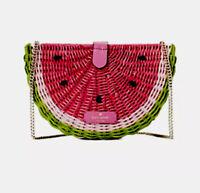Kate Spade Picnic Perfect Watermelon Wicker Leather Crossbody Handbag NWT!