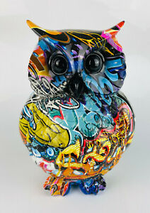 Multicolour Graffiti Street Art Urban Tawny Barn Owl Bird Ornament Figurine NEW