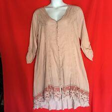 NEW Soft Surroundings Dress XL 18 Plus 1X Boho Chic Cotton Lace Hi Low Pink 2M75