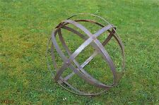 Large rusty wrought iron riveted ornamental sphere garden ball sculpture decor