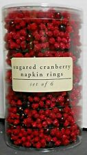 Pier 1 Napkin Ring Holiday Sugared Cranberry Set of 6